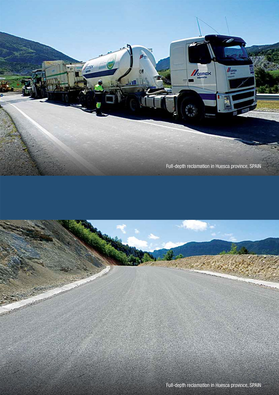 the image shows a road being treated by CEMEX
