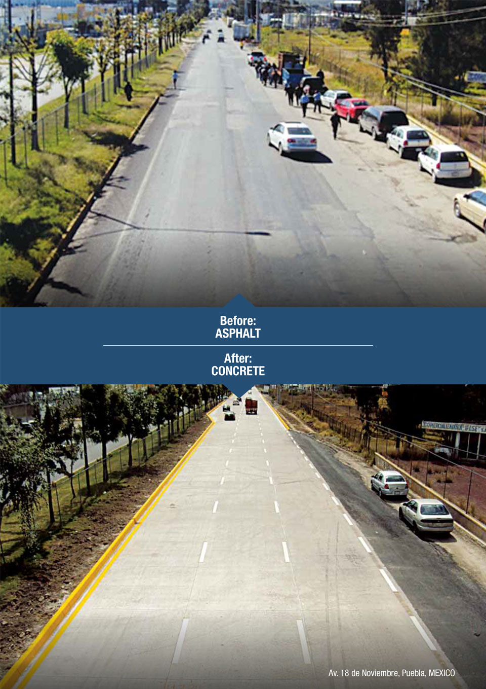 the image shows a before and after of a road with asphalt and then with concrete