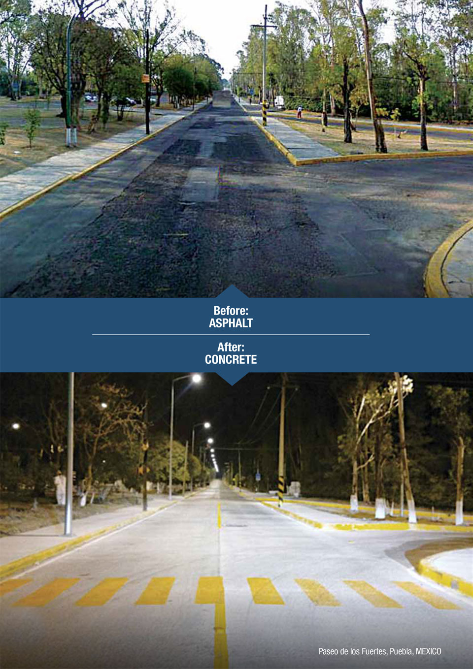 the image shows a before and after of a road using asphalt and then concrete