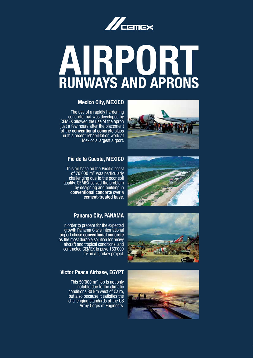the image shows several airports CEMEX has helped with the construction of
