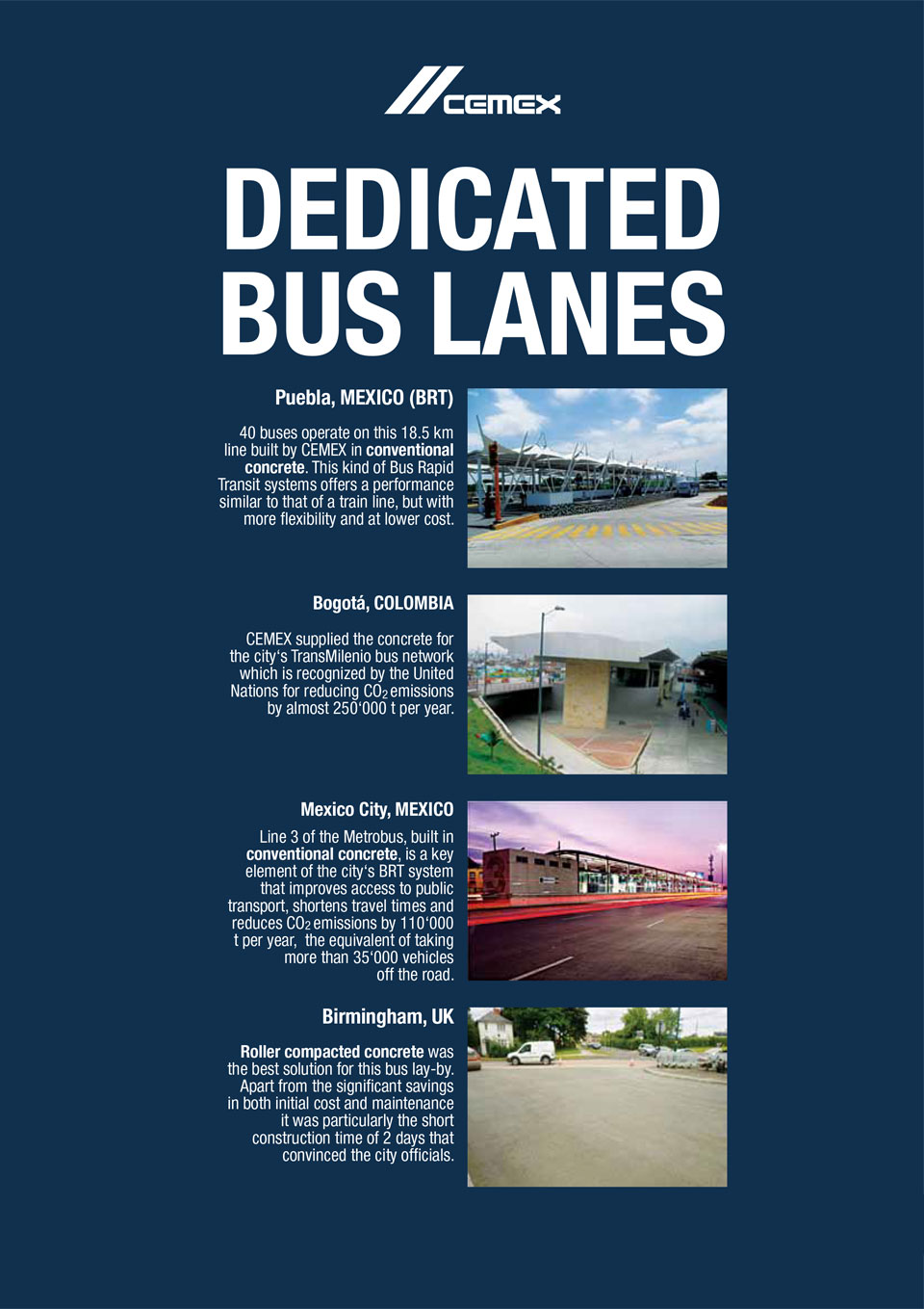 the image shows several bus lanes CEMEX has helped with the construction of