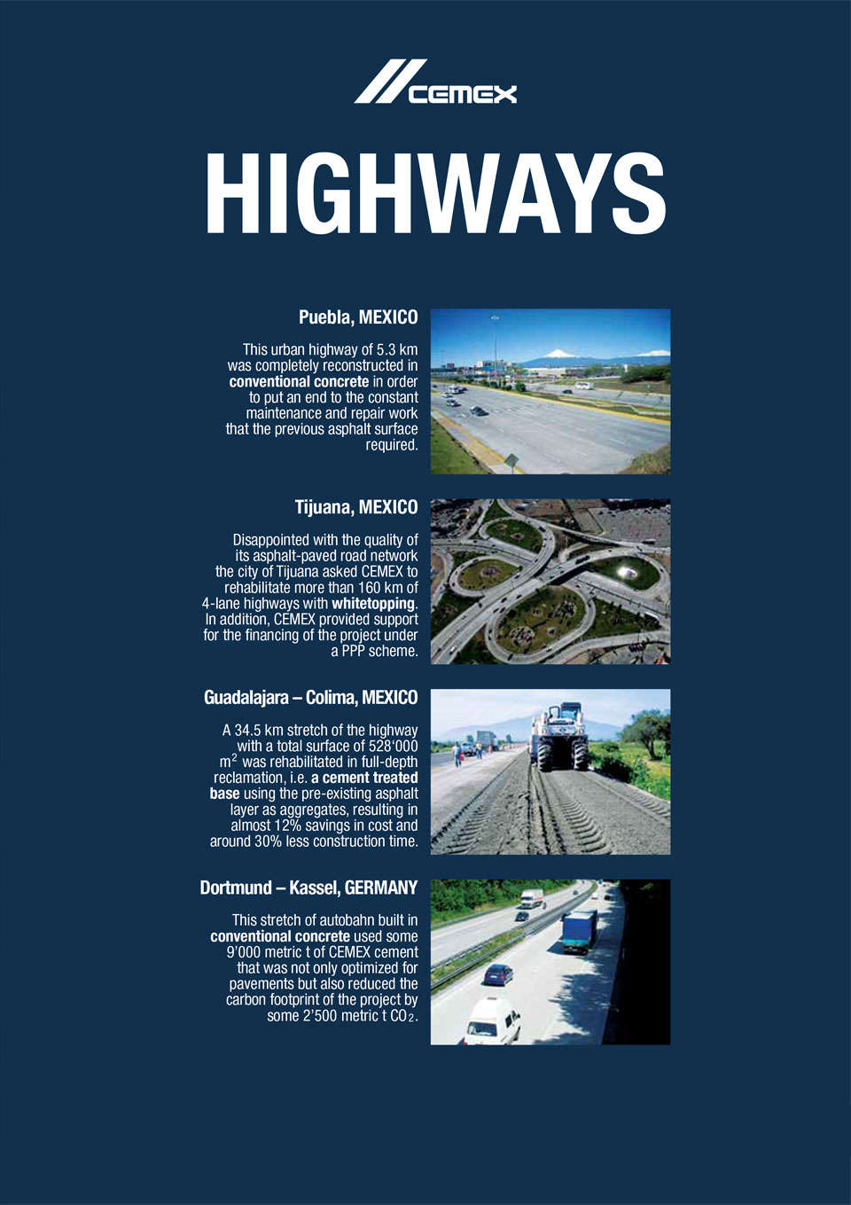 the image shows several of the highways that CEMEX has helped with the construction of