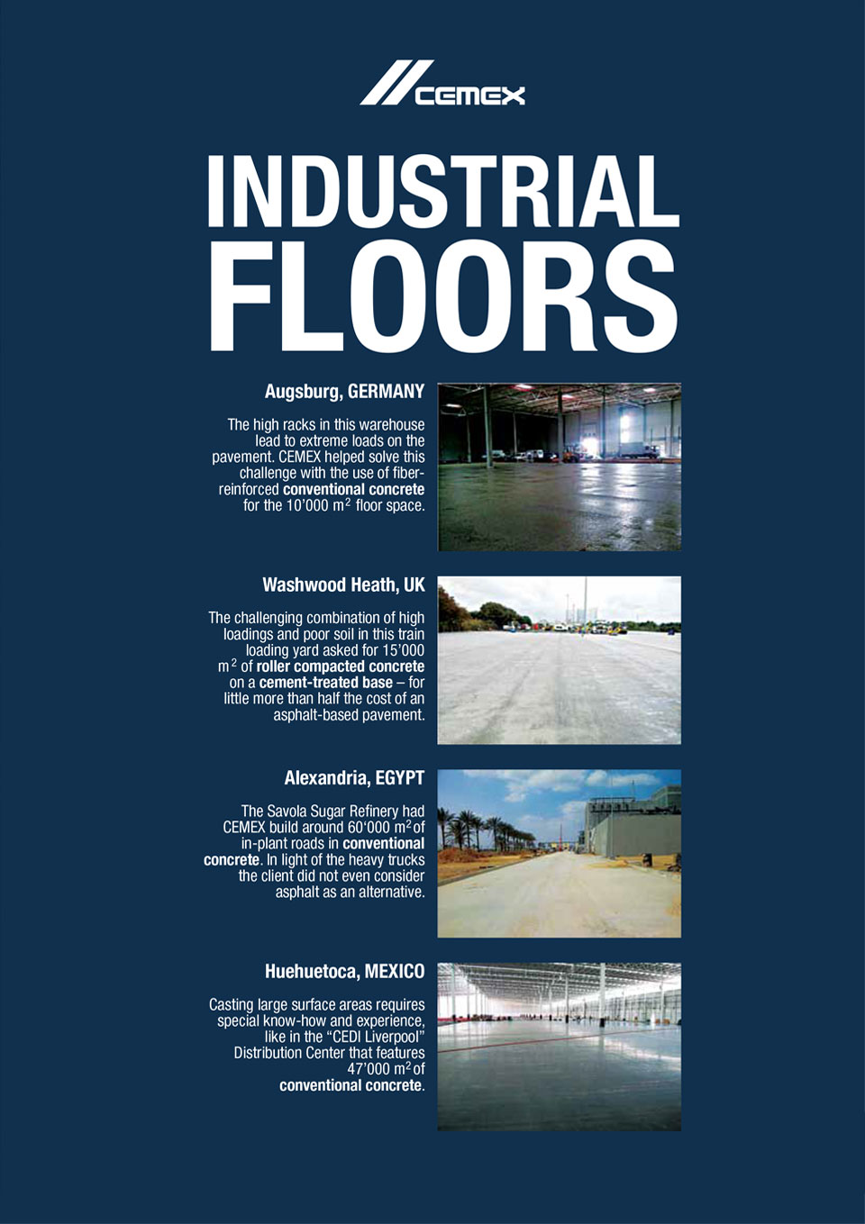 the image shows several industrial floors CEMEX has helped with the construction of