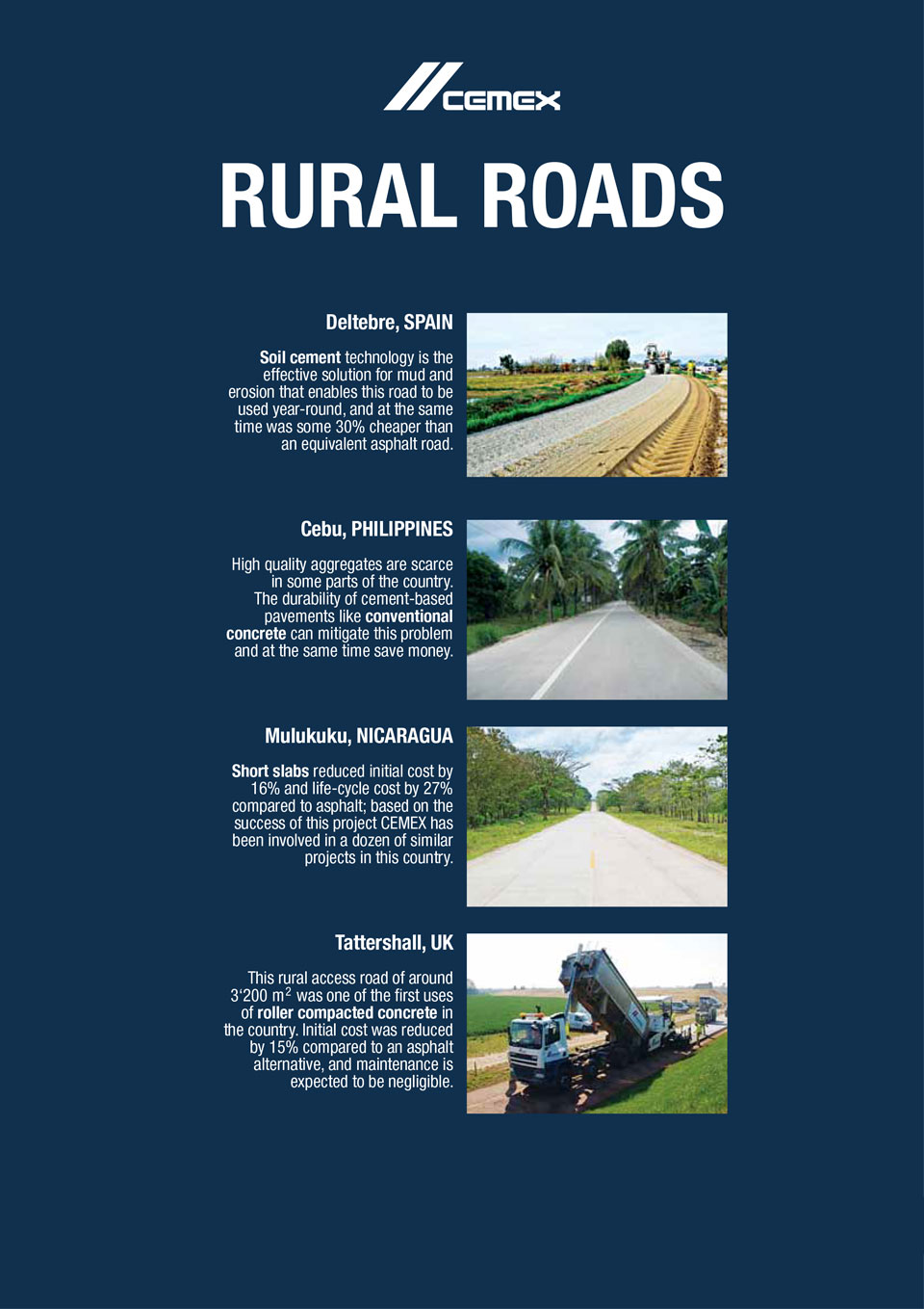 the image shows several rural roads CEMEX has helped with the construction of