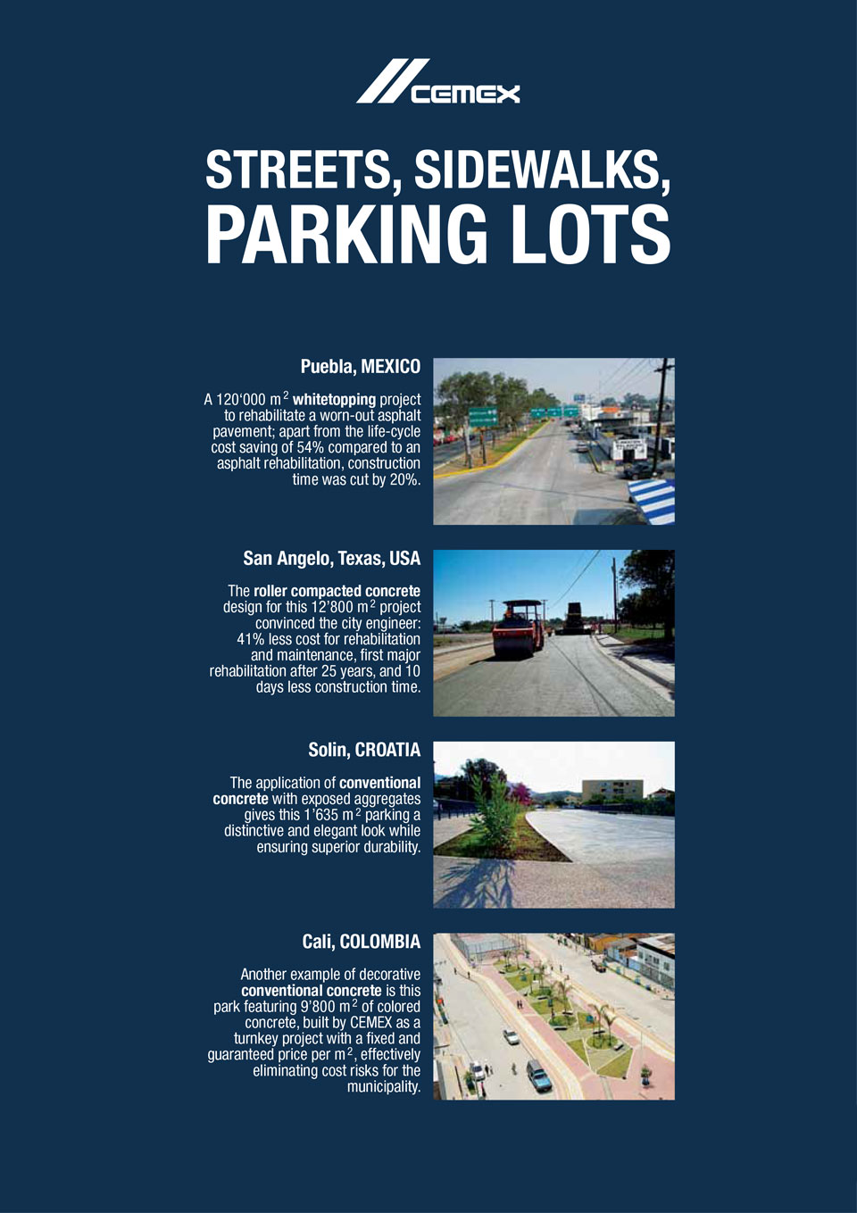 the image shows several streets, sidewalks, and parking lots CEMEX has helped with the construction of