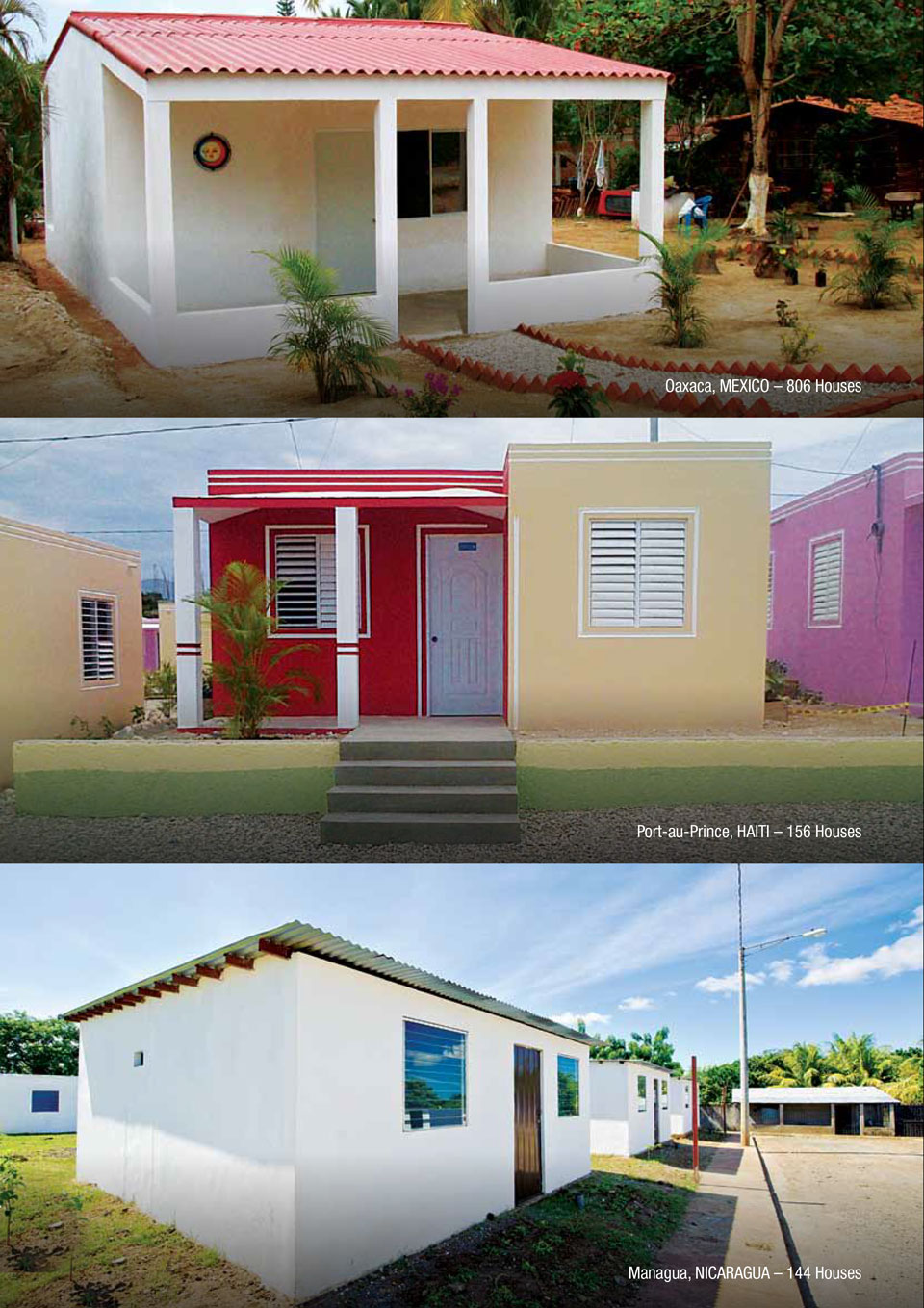 An image showing some of the projects CEMEX has done with the Disaster Relief Housing solution.