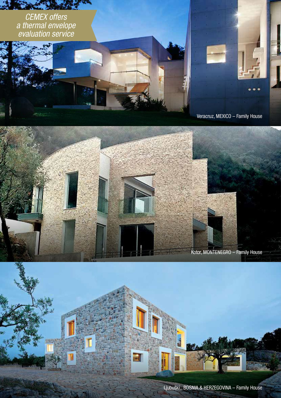 An image showing some of the projects CEMEX has done with the Energy Efficient Housing solution.
