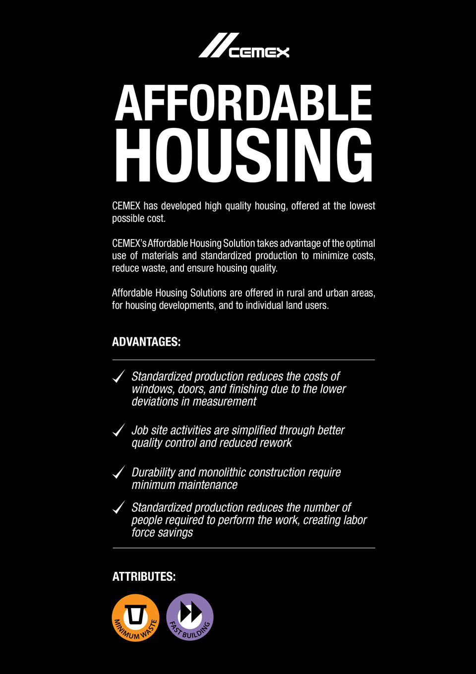 An image describing the advanages and characteristics of the Affordable Housing solution.