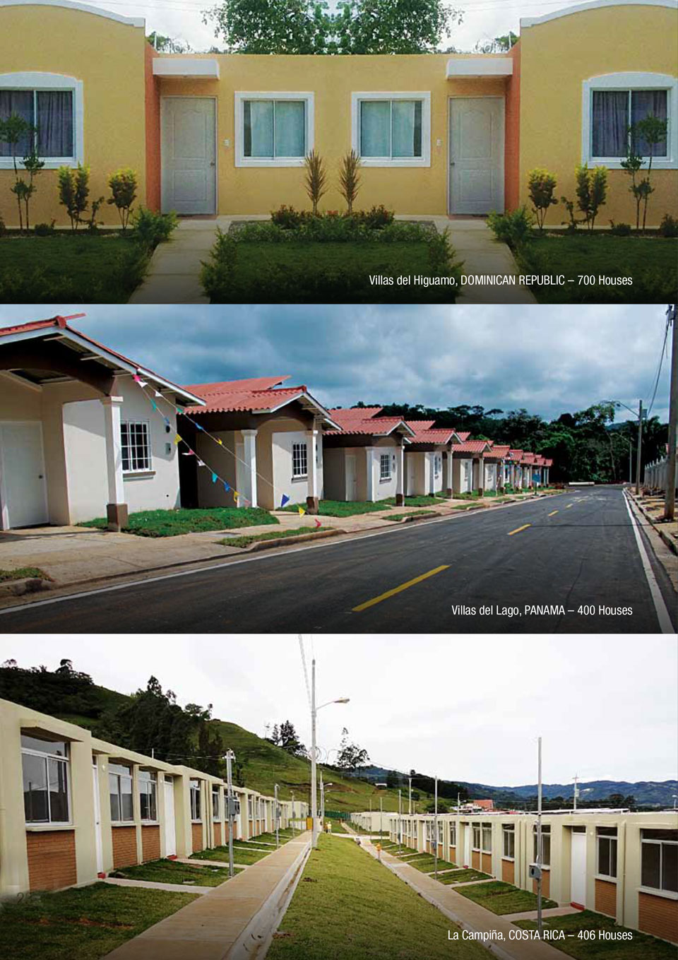 An image showing some of the projects CEMEX has done with the Affordable Housing solution.