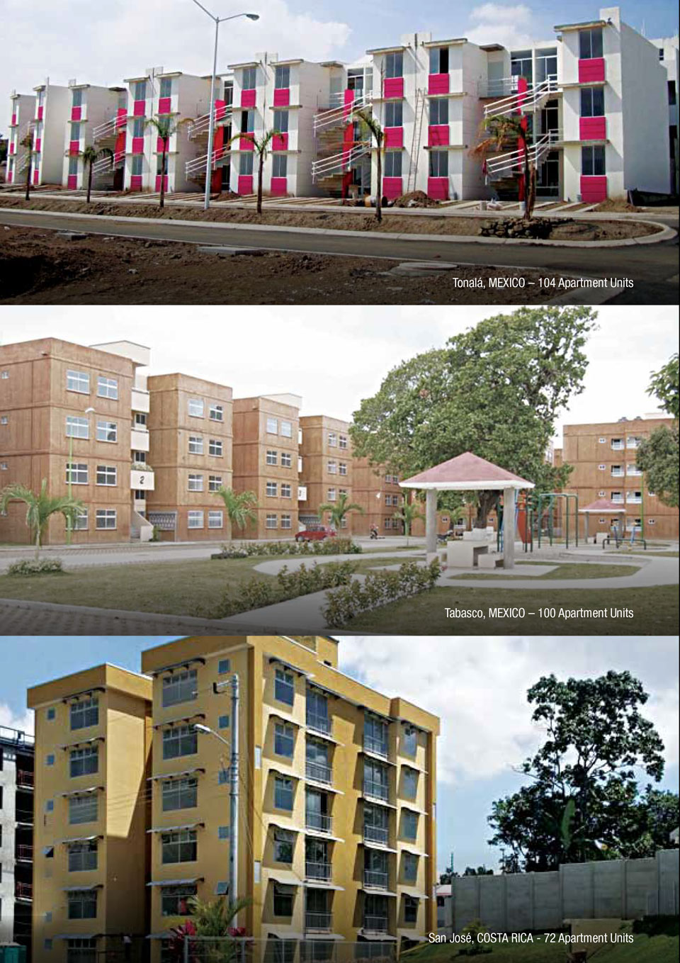 An image showing some of the projects CEMEX has done with the Vertical Housing solution.